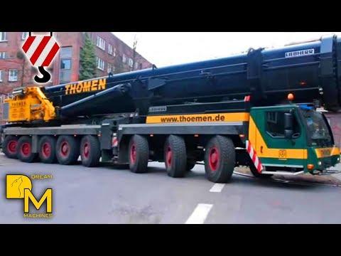 LIEBHERR CRANE LTM 1500 8.1 ARRIVING CONSTRUCTION SITE ASSEMBLING THÖMEN HAMBURG