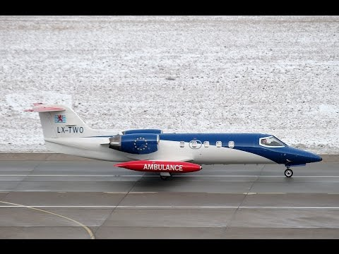 LAR - Luxembourg Air Rescue Learjet 35A LX-TWO takeoff at Berlin Tegel airport