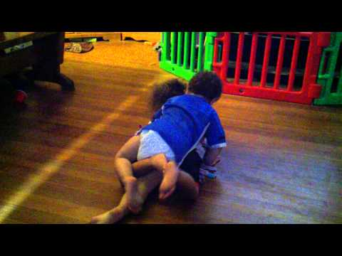 2 Year Old Twins Running in Circles - Boy & Girl, Funny! .3gp