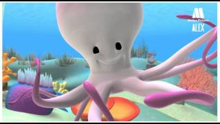Octopus, Cartoon to learn about sea animals - Alex in the sea
