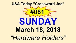 """#081 USA Today Crossword """"Hardware Holders"""" March 18, 2018"""