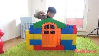 メガブロックで秘密基地とイスを作って遊びました♫ こうくんねみちゃん Megablock