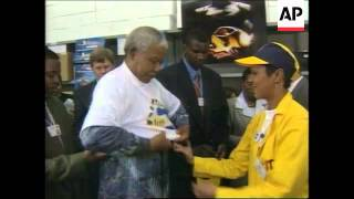 SOUTH AFRICA: CAPE TOWN: NELSON MANDELA OPENS BAYGEN FACTORY