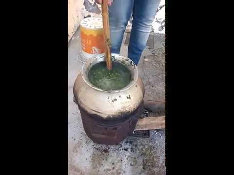 Cooking Sarson ka saag ( India )