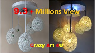 Make a Home Made Wrapped Balloon Lamp| Easy Home Made Lamp by Crazy Art 4 U