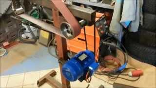 Homemade belt grinder for knifemaking with new motor