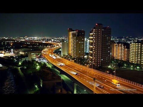 阪神高速 泉大津PAからの夜景 4号湾岸線 Night View from Izumiotsu Parking Area on Hanshin Expressway Osaka Japan