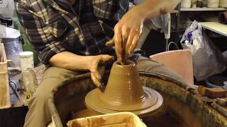 Making Pottery on the wheel