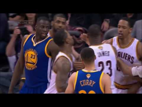 LeBron James Steps over Draymond Green and they nearly FIGHT (2016)
