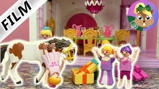 بلايموبيل الفيلم هانا تذهب الى عيد ميلاد بملابس الاميرات و تقع بسبب، حصان سلسلة الأطفال
