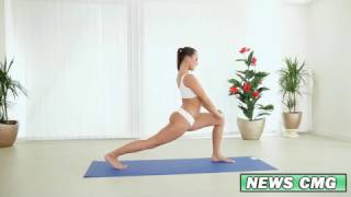 hot girl doing yoga for fitness perfect body shape