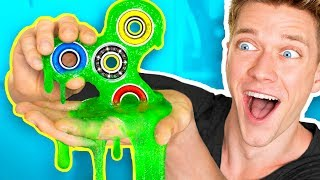 DIY Slime Fidget Spinner That ACTUALLY SPINS!!! How To Make Rare Giant Fidget Spinners Toys & Tricks