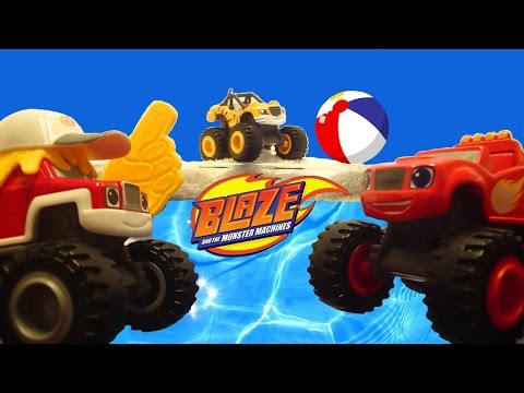 BLAZE AND THE MONSTER MACHINES Nickelodeon Blaze Cool Pool Party a Blaze Toys Video Parody