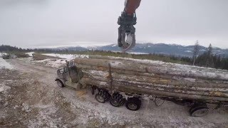 loading a logging truck in  the bush