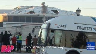 Bus Photobombs Live Stream Of Georgia Dome Demolition