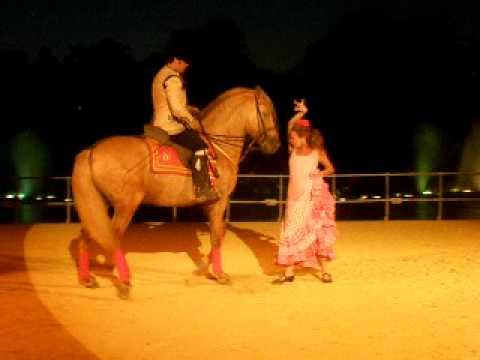 Baile por Sevillanas Mujer y caballo Cartujano en Isla Magica