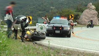 Motorcycle Crash in Front of Cop