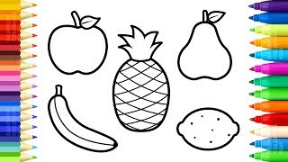 Fruits Coloring Pages - How to Draw and Paint Sweet Fruits - Art Colours for Kids