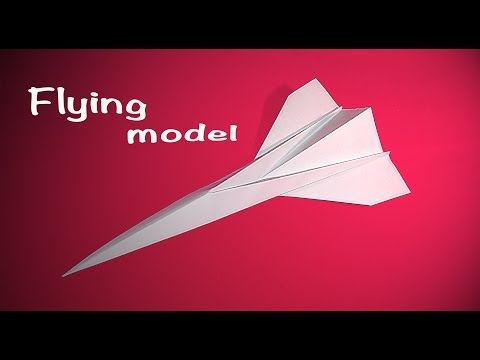 Easy origami concord. Flying Paper plane - concord. Only 9 steps.