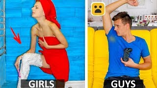How Girls Get Ready Vs. Guys! Simple DIY Life Hacks