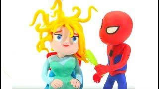 Spiderman Brushes Frozen Elsa Hair - Play Doh Cartoons & Superhero Babies Stop Motion Movies
