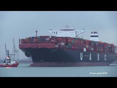 Xxx Mp4 UASC 39 Al Mashrab 39 Container Ship Sails From Southampton For Tangier 12 01 18 3gp Sex