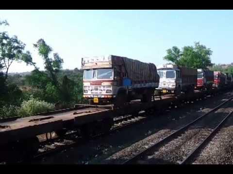 Trucks On Train Video RORO Train Carrying Trucks in Konkan Indian Railway
