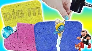 Homemade DIG IT Bars With Smurfs! Gems, Minions & My Little Pony! Doctor Squish