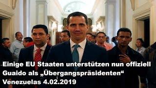"""Einige EU Staaten unterstützen nun offiziell Guaido als """"Übergangspräsidenten"""" Venezuelas 4.02.2019"""