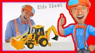 Backhoe for Children | Blippi Toys fun Construction Vehicles