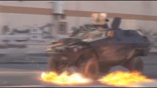 Rain of Molotovs: Bahraini protesters batter police armored vehicles with petrol bombs