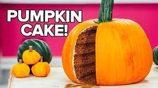 How To Make A PUMPKIN CAKE! PUMPKIN SPICE Cake With Dark Chocolate GANACHE And Buttercream!