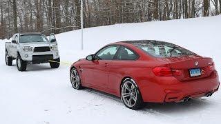 BMW M4 vs Toyota Tacoma Snow Tow