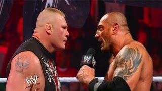 WWE RAW 4/22/13 Batista Returns And Confronts Brock Lesnar  ( WWE 13 Simulation )