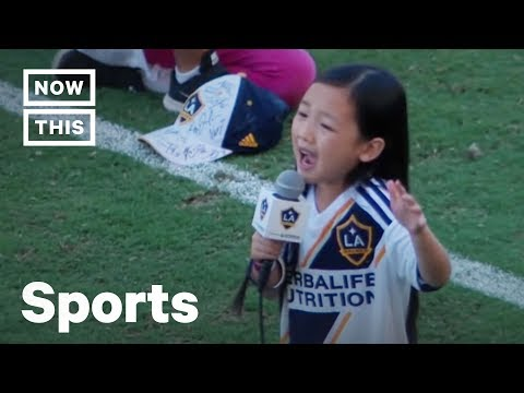 Little Girl Sings Amazing National Anthem at LA Galaxy vs Seattle Sounders Game   NowThis