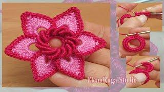 Download Irish Crochet Double Layered Flower Tutorial 19 3Gp Mp4