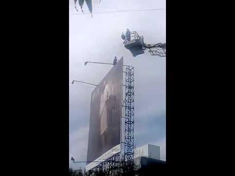 Xxx Mp4 Man Climbed On Hoarding At CG Road Ahmedabad 3gp Sex