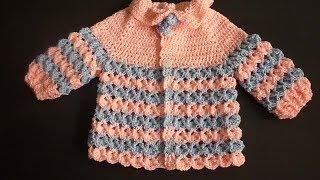 جاكيت كروشيه للاطفال من عمر شهر وحتى السنةCrochet Jacket