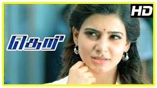 Theri Movie scenes | Road fight scene | Samantha intro | Vijay falls for Samantha | Rajendran