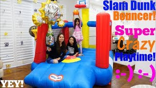 Family Toy Unboxing Channel: Kids' BOUNCER Playtime! Inflatable Bouncer Basketball by Little Tikes