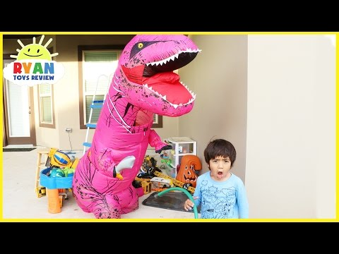 GIANT LIFE SIZE PINK DINOSAUR attacks Ryan Family Fun kids chase pretend play magic transform