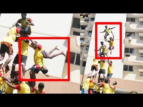 Xxx Mp4 Heart Stopping Moment Boy Falls During Dahi Handi Human Pyramid Mumbai 3gp Sex