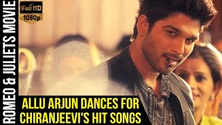 Allu Arjun Dances for Chiranjeevis Hit Songs   Romeo & Juliets Malayalam Movie   Iddarammayilatho