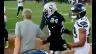 Marshawn Lynch RUNS UP on Pete Carroll During Raiders vs Seahawks Pre Game!