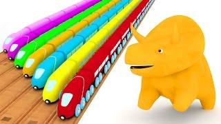 Apprendre les couleurs avec Dino & les trains   Apprendre les couleurs en français 🎨🦕🚆