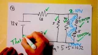 Parallel and Series Resistor Circuit Analysis Worked Example using Ohm