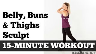 15 Minute Belly Buns + Thighs Sculpt |  Fat Burning Home Exercise Video Inner Thighs Abs Butt