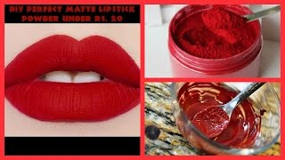 DIY PERFECT MATTE LIPSTICK POWDER UNDER RS  20 || EASY TO MAKE IN 5 MINUTES