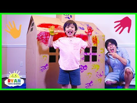Ryan DIY Pretend Play Box Fort House and Paint playtime