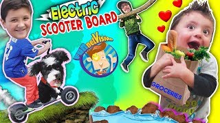 ELECTRIC SCOOTERBOARD w  PUPPY! SHAWN ❤️s GROCERIES ! Vlog